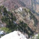 Na tej strani pripleza gor markirana steza iz Trebuše. Levo zgoraj, desno za vrhom  roglja