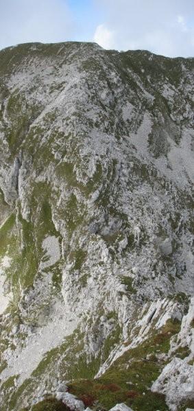 Strm pogled z Vršaca na škrbino med Vršacem in Travnikom.