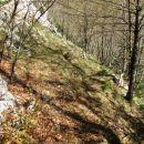 Druge ruševine (takoj za zadnjo škarpo ob poti).. Križišče.  K sreči sta tu stezici
