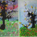 spomladanska drevesa (vodene barve, tuš - pihamo s slamico, krep papir)