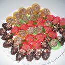 ježki, čokoladne kroglice, jagode