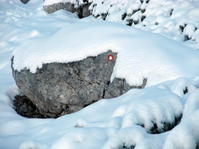 Ena redkih markacij, ki je še ni pokril sneg.