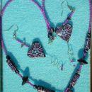 komplet ogrlica in uhani za prijateljico, srčki so iz fima