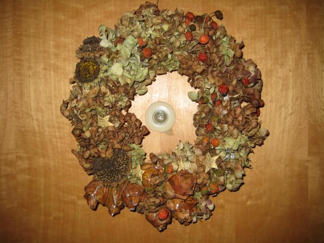 Venček za na vrata iz hortenzija