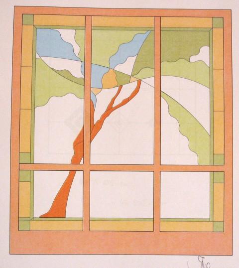 Osnutek pred izdelavo  predelne stene, vitraž 200 x 180 cm