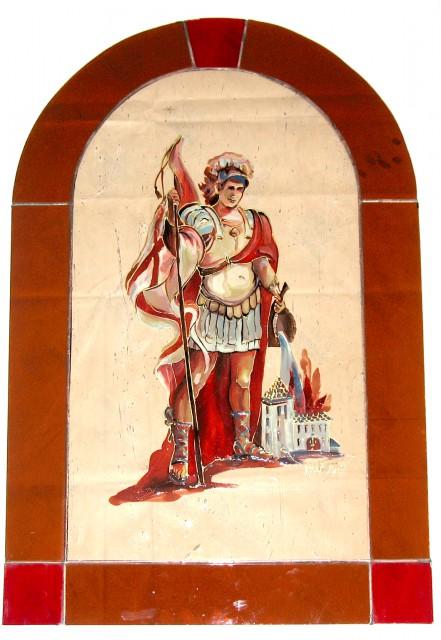 Sv. Florijan, vitraž s poslikavo