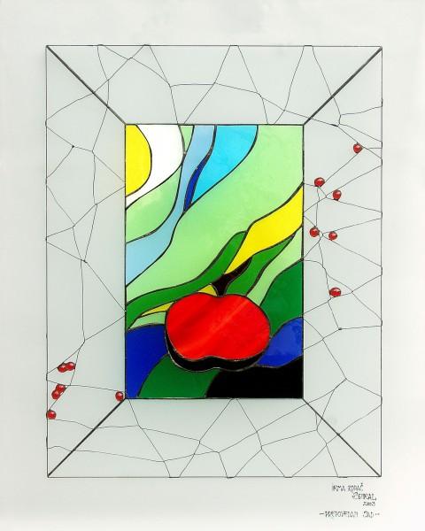 JABOLKO, vitraž 80 x 60 cm