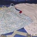 Oblekica in bel bodi kratek rokav, št. 68, komplet 5€