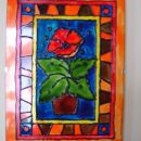 Motiv prerisan iz neke knjige o risanju na steklo, povabarvala pa sem ga čisto sama ;-))