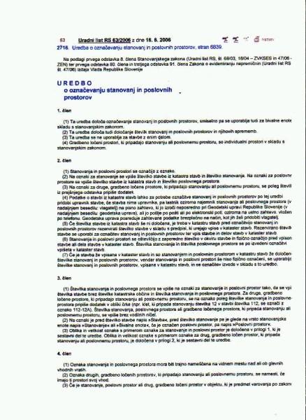Uredba o označevanju stanovanj in poslovnih prostorov list 1