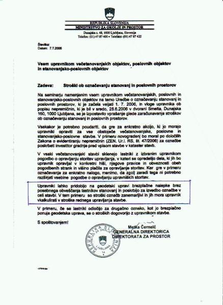 mnenje Ministrstva za okolje in prostor