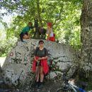 Kamen je pri koči pod slapom Mostnice.