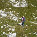 Marko pred vstopom v zadnjo strmino pod Mišelj vrhom.