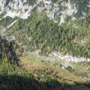 Malo polje pod Mišelj vrhom z značilnim potočkom, ki se vije levo desno.