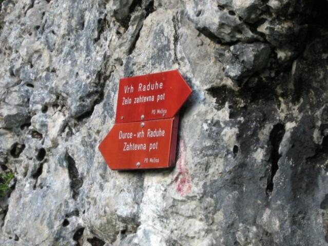 Tu se ločijo dve poti na Raduho. Leva pelje čez Durce, desna (moja) je plezalna tura po se