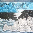 kreda na črnem kartonu-polarni medvedki