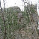 veličastne ruševine gradu v gozdu nad vrbico