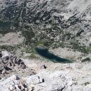 jezero ledvička, največje triglavsko jezero z grebena med malo in veliko zelnarico
