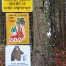 obilje opozoril na odcepu gozdne ceste