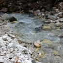 spet nazaj pri potoku, ki teče čez prodišča