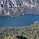 pogled na bohinjsko jezero iz gondole ob povratku