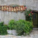 vhodna vrata z lesenim obodom